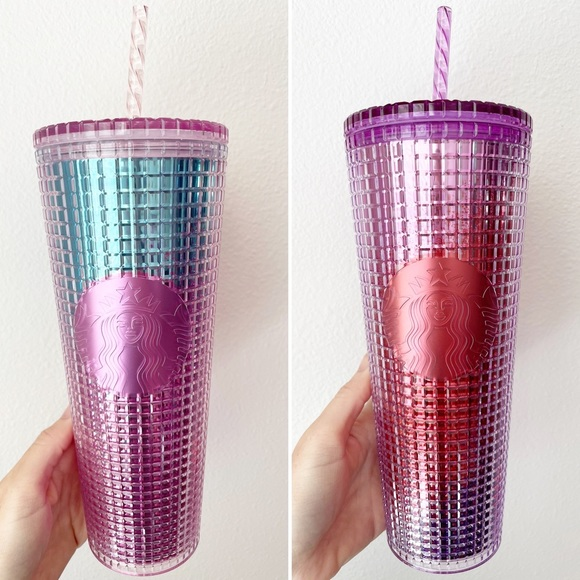 SOLD - Starbucks SET Summer Disco Grid Ombre Cups